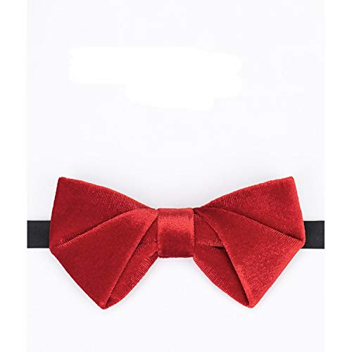 WATERMELON Textured Velvet Big Red Fliege Mode Herren Kleid Zubehör Hochzeit Groomsmen Casual Party Neckcloth Bow Ties (Rot Red Hosenträger Bow Tie)