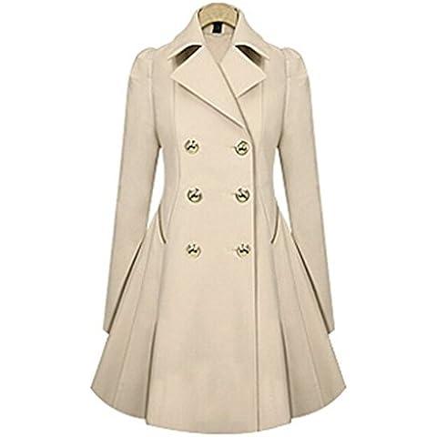 Cappotto donne europee doppio petto pulsante tuta sportiva del rivestimento caldo medio vestito stretto sottile (Bianco Bagagli Petto)