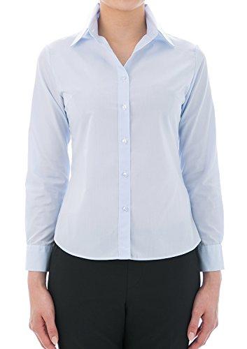 LEONIS Pflegeleichte Damen Langarm-Popeline-Bluse Hellblau