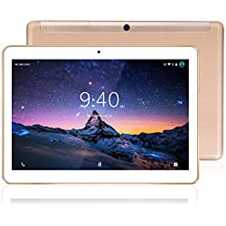 Tablet 10 Pollici 4G LTE WiFi BEISTA-Android 9.0 Certificato da Google GMS,4GB RAM,64GB Espandibili,Octa Core 2GHz CPU Alta Velocità,GPS,Tpye-C,Corpo in metallo,Or