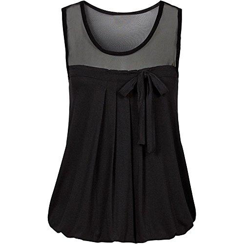 Damen Weste TräGershirts Bluse Frauen Sommer BeiläUfiges Bogen Spitze T Shirt äRmellose Hemd Sweatshirt Oberteil (XX-Large, Schwarz)