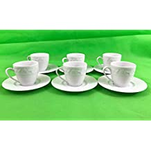 Kutahya Porcelain Turkish/Greek or Arabic Coffee Cups and Saucer, Set of 6, White