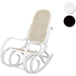 Due-Home - Mecedora sillón balancin, acabado en Blanco Brillo Lacado, medidas: ↔ 92,5 ↕ 67 ↗ 11,5 cm