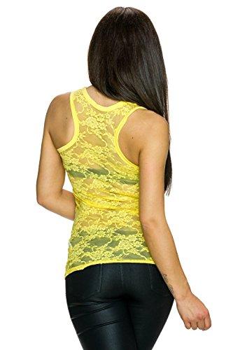 Fashion Damen Tank Top mit Racver Back aus Spitze | transparent verführerisch Gelb