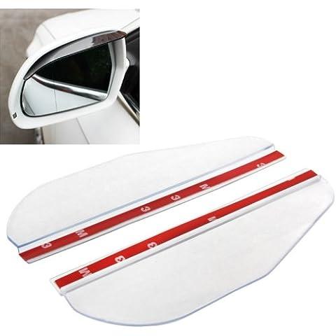 Shelding Bordo Pioggia Sole Visiera A Specchio Retrovisore Ombra Flessibile Per Specchietti Retrovisori Auto, Confezione Da 2 (Trasparente) - Porta Specchio Ottica
