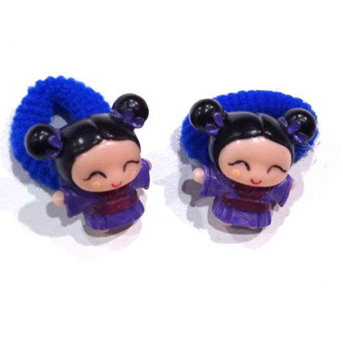 rougecaramel - Accessoires cheveux - Elastique/mousse enfant poupe 2pcs - bleu