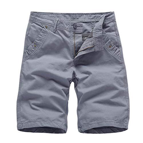 ZEZKT klassisch Badeshorts Lose Sporthose Lässige Shorts Herren Männer Hot Pants Volltonfarbe Strandhose lose Baumwolle Overalls Shorts Hosen 30-38 (Männer Hot Pants)