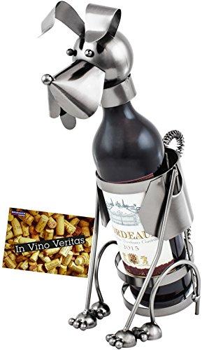 BRUBAKER Weinflaschenhalter Hund Flaschenständer Deko-Objekt Metall mit Grußkarte für Weingeschenk