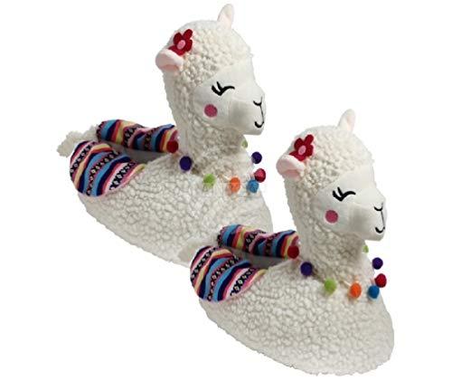 Rainbow Lama Hausschuhe Alpaka Pantoffeln Größe: 37-42 Plüsch Schuhe Puschen Kuschel-Hausschuhe (40-42)