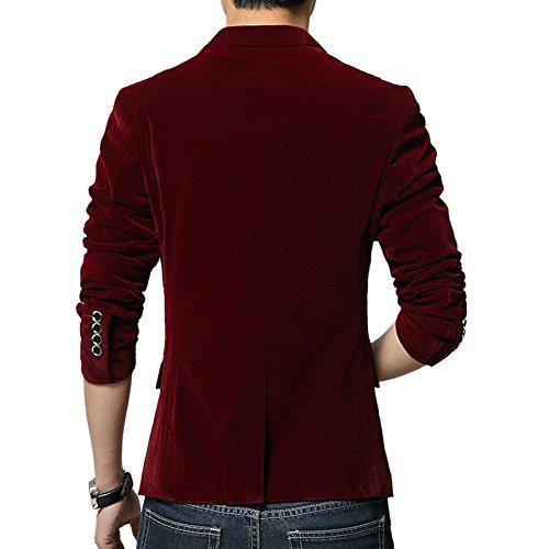 MRSMR Hommes Casual Duvet Coton Veston Costume Slim Fit Un Bouton Blazer Manteau Vestes Rouge