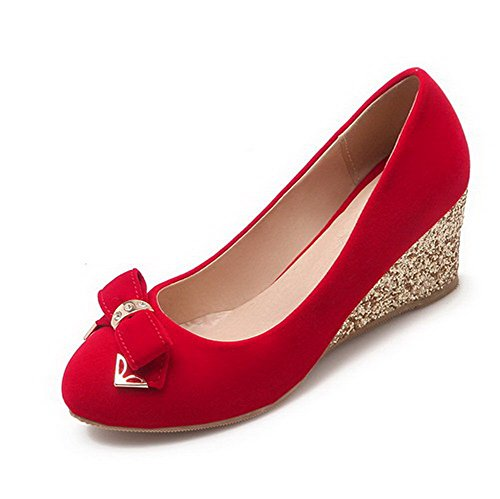 AllhqFashion Femme Tire Suédé Rond à Talon Correct Couleur Unie Chaussures Légeres Rouge