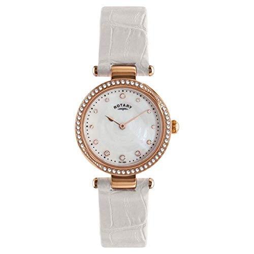 Rotary Analogue pour Femmes Or Rose Nacre Cadran Montre Bracelet en Cuir Blanc LS00512/41