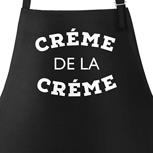 MoonWorks Koch und Grill-Schürze für die Feine Küche mit Spruch Creme de la Creme Schwarz Unisize (Creme Schürze)
