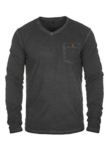 SOLID Terkel Herren Longsleeve V-Ausschnitt Langarmshirt aus 100% Baumwolle , Größe:M, Farbe:Black (9000) (V-ausschnitt Tee Baseball)