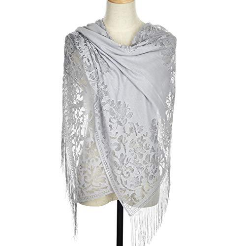 WEIHUIMEI 1PC Stück Multifunktionale Frauen Bunte Jacquard Fransen Lace Schal Schal Schal Wrap Schal Stola