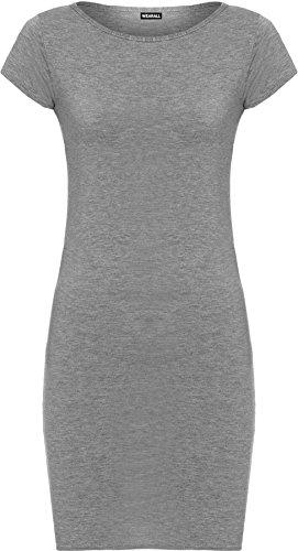 WearAll - Damen Einfarbig Anliegend Stretch Cap Mini Kleid Lang Top - 7 Farben - Größe 36-42 Dunkelgrau