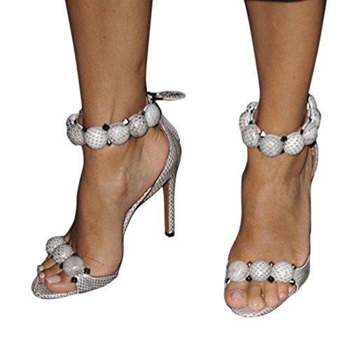 Damen Sandalen Open Toe Fellsamt High-Heels Stiletto T-Spange Knöchelriemchen Schlangenhaut