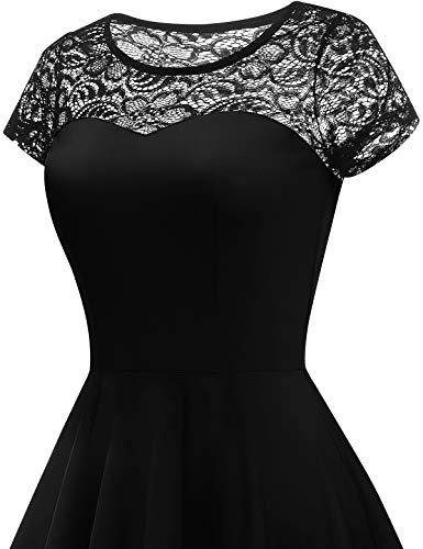 YOYAKER Damen Elagant Vintage Mit Spitzen Rundhals Kurzarm Cocktail Rockabilly Abendkleid Black XS - 5