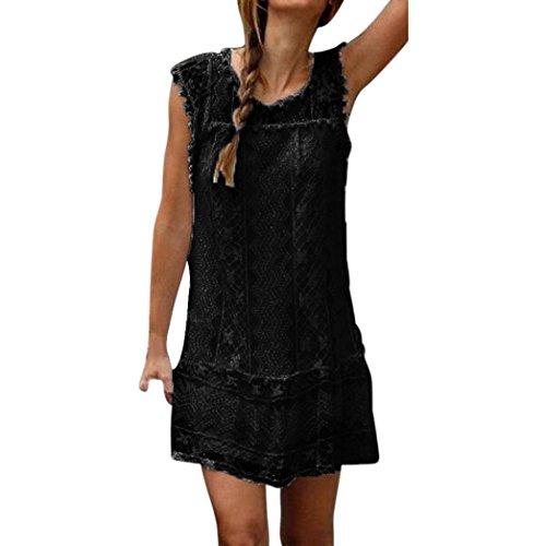 Ningsun mini abito da donna casual in pizzo con elegante maniche corte gonna smanicato vestitino da cerimonia sottile mini vestit moda allentato vestiti senza maniche estivo (nero, m)