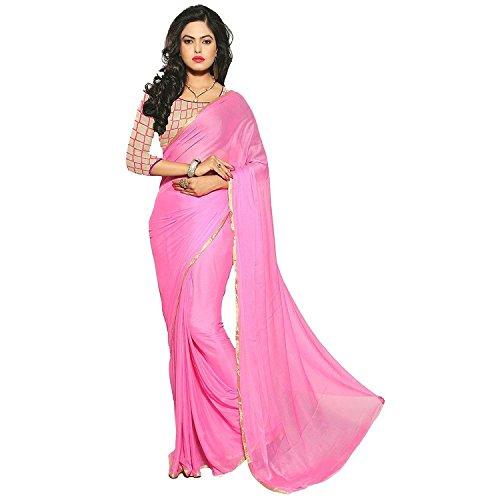 Sarees(Chiffon plain lace border Saree& net embroidared blouse)  available at amazon for Rs.337