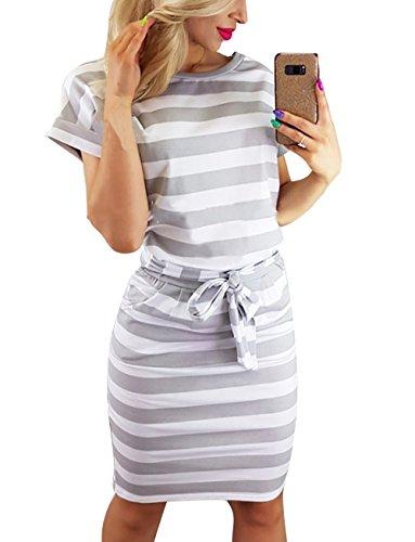 Yieune Sommerkleid Damen Lose Abendkleid Einfarbig Knie Lang Kleider Elegant Strandkleid Minikleid...