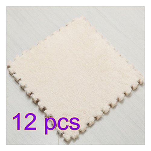 Batop Puzzlematte - 12 Stück Kinderspielteppich Spielmatte Spielteppich Schaumstoffmatte Shaggy Teppich für Wohnzimmer, Schlafzimmer oder Kinderzimmer (Weiß) - Eva-plüsch