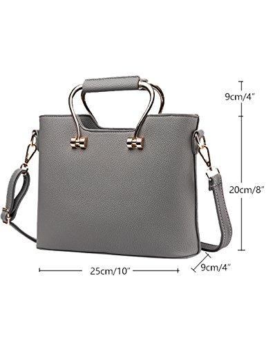 Menschwear Damen PU Handtaschen Damen Handtasche Schwarz Handtasche Schule Damen Handtaschen Rot-wien Grau