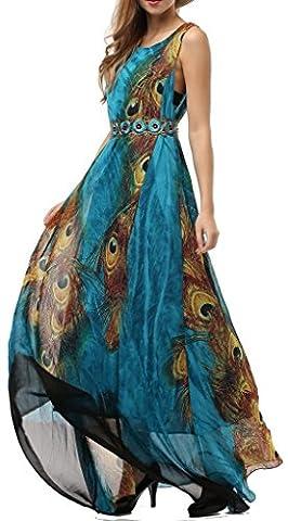Wantdo Women's Peacock Printed Bohemian Summer Maxi Long Dress Plus Size Peacock 20