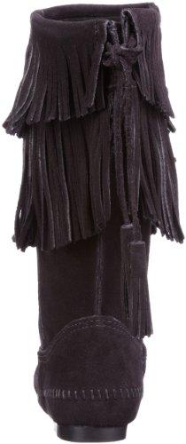 Minnetonka Calf Hi 2-Layer Fringe Boot 1681T Damen Fashion Stiefel Schwarz (Black)