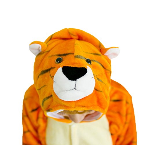Ovender® kigurumi pigiami animali unisex donna uomo costume carnevale halloween cosplay unicorno orsetto coniglio lupo pinguino panda festa party zoo onesies tuta anime (large, tigre 3)