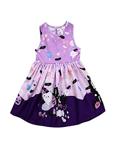 Kostüm Kleinkind Ghost - Blingko Kleid Halloween Karneval Kleinkind Baby Mädchen Ghost Print Kleider Halloween Kostüm Outfits Ärmelloses Kleid für Kinder mit Halloween Print Lila