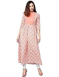 Jaipur Kurti Women Orange Ethnic Motifs A-Line Cotton Kurta