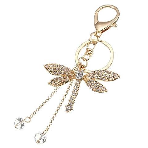 Dragonfly Rhinestone Crystal Lobster Clasp Alloy Keychain