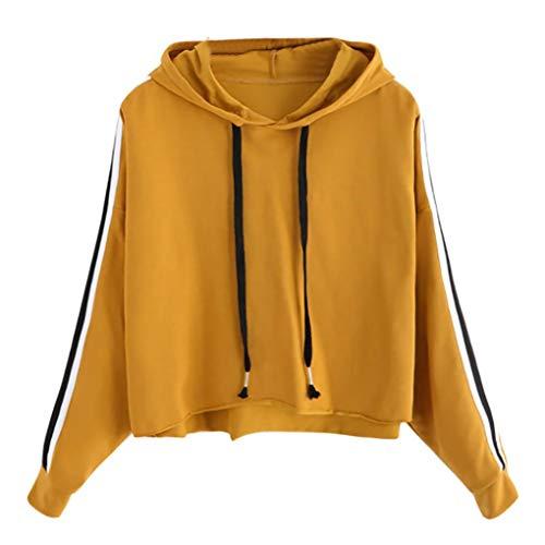 iHENGH Sweatshirt, Damen Gestreifter langärmel Hoodie Sweatshirt Jumper Kapuzen Pullover Tops Bluse -