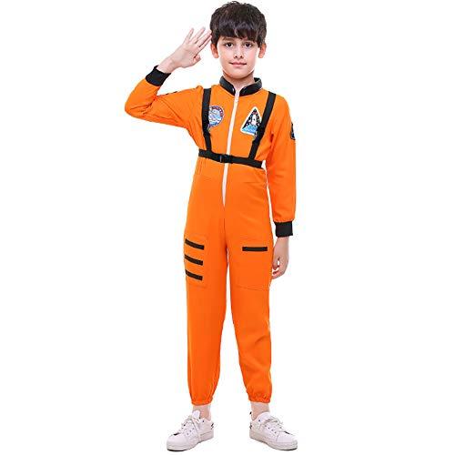 ROCK1ON Astronaut Kleidung Schwarz für Junge Kinder Halloween Karneval Rollenspiel Kostüm Weihnachten Tanzparty Cosplay Geschenk Geburtstag Include Zubehör Alter 4-12,Orange,XL