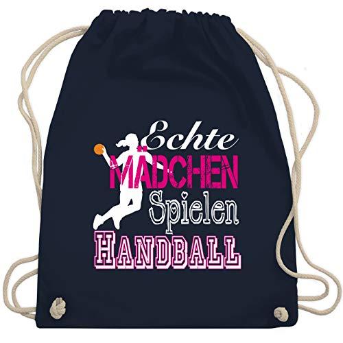 Shirtracer Handball - Echte Mädchen Spielen Handball weiß - Unisize - Navy Blau - WM110 - Turnbeutel und Stoffbeutel aus Bio-Baumwolle