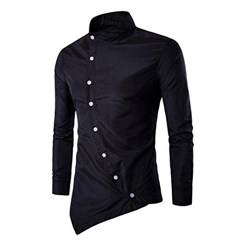 Amlaiworld Mens Casual irregolare slim fit elegante camicia partito vestito