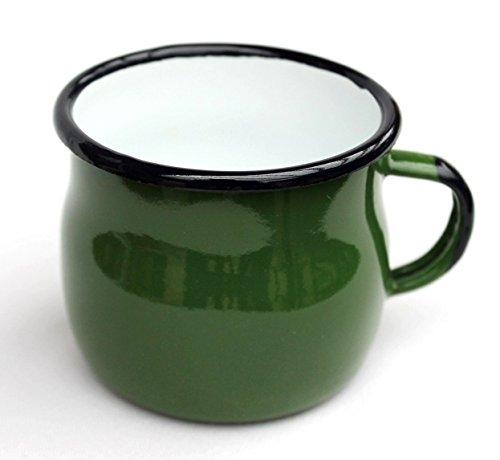 DanDiBo Emaille Tasse 501w/7 Grün 0,2 L Becher emailliert 7 cm Kaffeebecher Kaffeetasse Teetasse