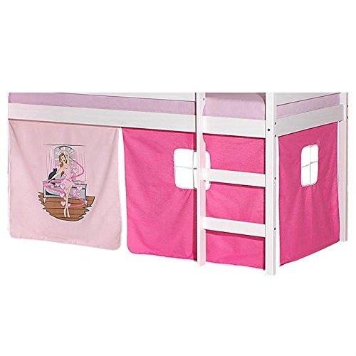 Achat en ligne IDIMEX Lot de Rideaux cabane pour lit surélevé superposé mi-Hauteur Mezzanine Tissu Coton Motif Danseuse Rose