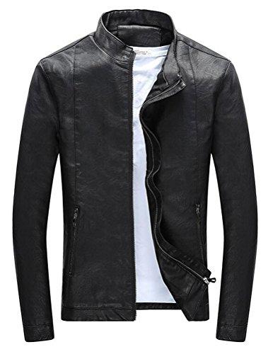 Vogstyle Hommes Veste Fit Basic Biker Cuir Style-7 Noir