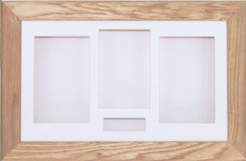 BabyRice 14,5x 8,5cm Eiche massiv BOX Schatten 3d Medaille silverjgift wirft Blumen Display Rahmen/Weiß 4Öffnung für Flachbildschirm/weiß Rückenlehne (Oak Shadow Box)