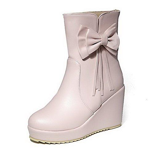 AgooLar Damen Ziehen Auf Hoher Absatz Rein Schleife Niedrig-Spitze Stiefel Pink