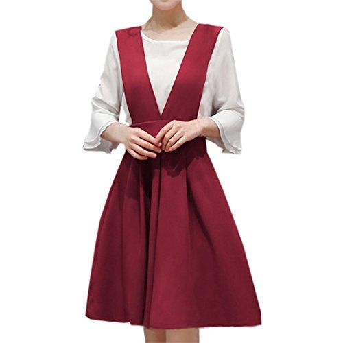 partiss Femme col en V manches trois quart Blanc en mousseline de soie pour femme plus Jupe porte-jarretelles Bordeaux
