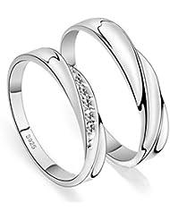 Aivtalk - Anillo de Pareja de Plata de Ley 925 con Circonitas regalo para Mujeres Hombres Compromiso Boda - Talla ES 9 10 11.5 13 14.5 15.5 16.5 18.5 20 21 22 - con caja de regalo