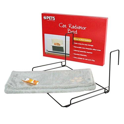 REFURBISHHOUSE Cama del radiador de los Gatos y de los Perros Cuna de colchon de Felpa Calida Cama de Gatos Mascota Cachorros de Felpa de Animal con Calido Club (Gris)