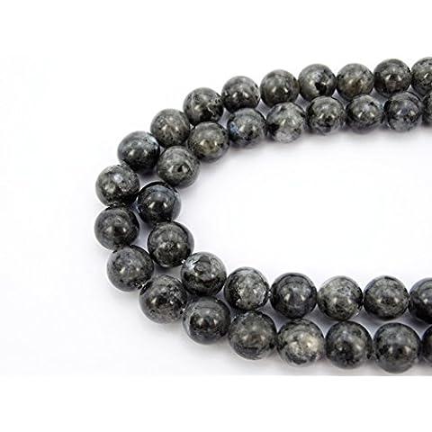 jennysun2010gemma naturale liscia rotondo Loose Beads 4mm, 6mm, 8mm, 10mm, 12mm, 1filo per borsa per braccialetto collana orecchini gioielli artigianato design guarigione, Larvikite Labradorite, 4 mm