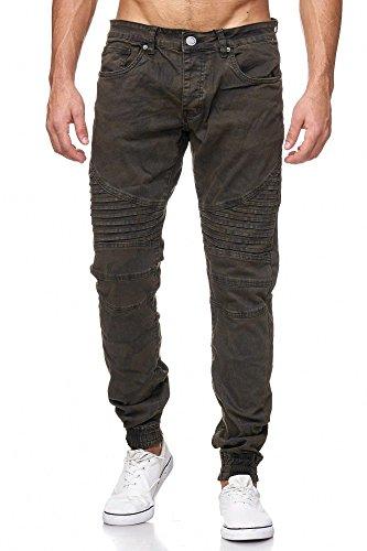 MEGASTYL Biker-Jeans Herren Hose Stretch-Denim Slim-Fit classic Camouflage Oliv