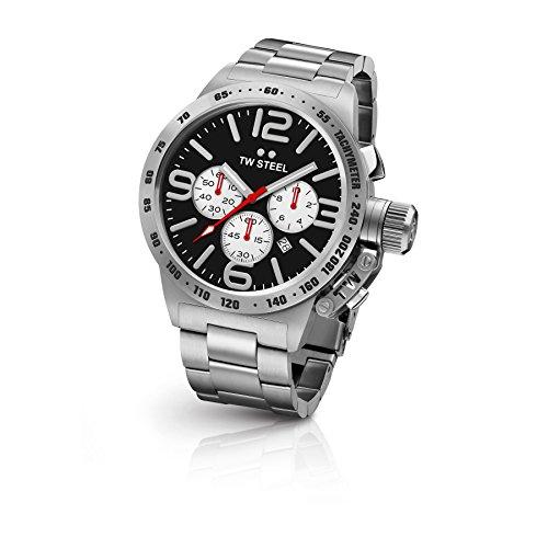 TW Steel CB4 - Reloj de Pulsera para Hombre, Acero Inoxidable, Esfera Negra, Acero Inoxidable