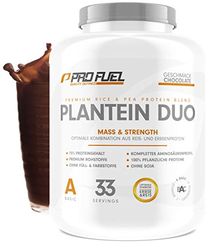 PLANTEIN DUO | Premium Protein-Mix auf pflanzlicher Basis | 100% Vegan Protein Powder & High Protein | Cremig & Lecker | Made in Germany | 1kg - CHOCOLATE (Schokolade)