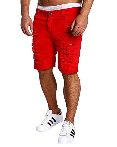 Tomsent 2017 Elasticizzati da Uomo Strappati Jeans Spiaggia Pantaloni Corti Bermuda Pantaloncini Sguardo Distrutto Patchato Stile Men Pants Rosso EU
